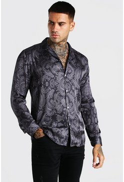 Black Long Sleeve Paisley Print Satin Shirt