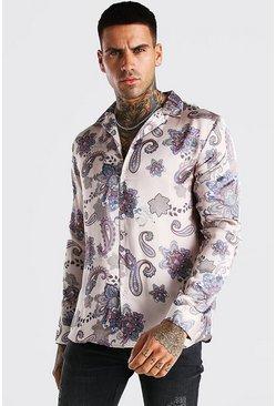 Beige Long Sleeve Paisley Print Satin Shirt