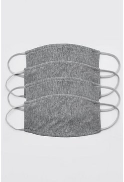 Grey 4 Pack Plain Fashion Masks