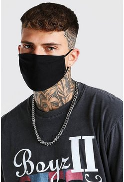 Black 2 Pack Plain Fashion Masks