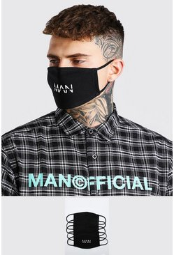 5er-Pack Fashion-Masken mit MAN-Dash-Motiv, Schwarz