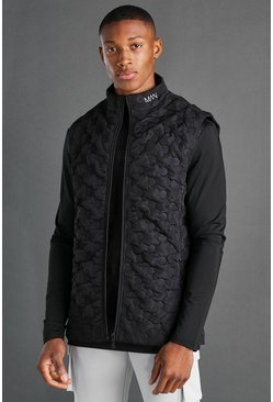 Black MAN Geo Quilted Funnel Neck Gilet
