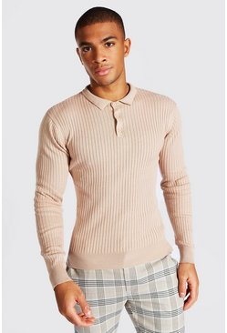 Taupe Long Sleeve Ribbed Knitted Polo