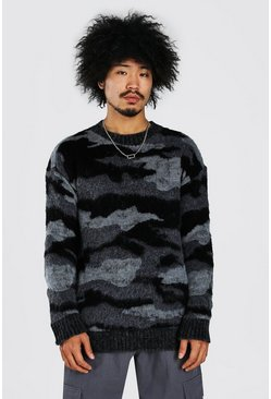 Brushed Knitted Camo Dropped Shoulder Jumper, Grey