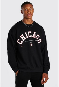 Black Oversized Chicago Print Sweatshirt