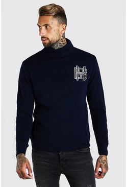MAN Roll Neck Knitted Jumper, Navy