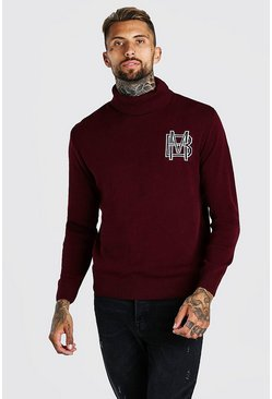 MAN Roll Neck Knitted Jumper, Burgundy