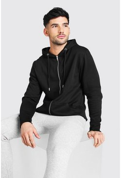 Black Basic Zip Through Fleece Hoodie