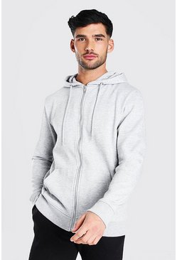 Grey Basic Zip Through Fleece Hoodie