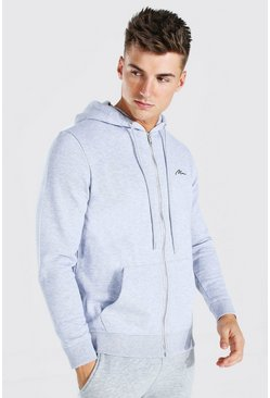Grey marl MAN Signature Zip Through Fleece Hoodie
