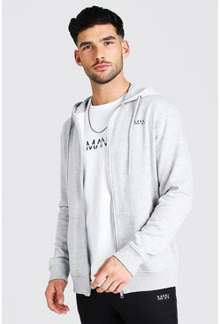 Grey marl Original MAN Zip Through Fleece Hoodie