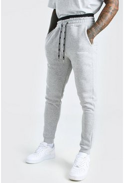 Grey marl Skinny Fit MAN Official Double Waistband Jogger