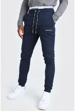 Navy Skinny Fit MAN Official Double Waistband Joggers