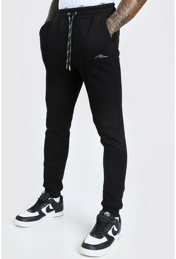 Black Skinny Fit MAN Signature Double Waistband Joggers