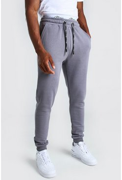 Charcoal Skinny Fit MAN Signature Double Waistband Jogger