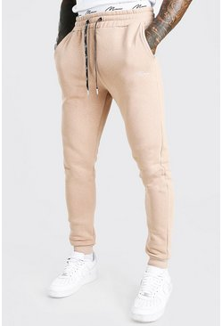Taupe Skinny Fit MAN Signature Double Waistband Joggers