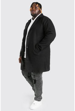 Black Plus Size Summer Wool Look Overcoat