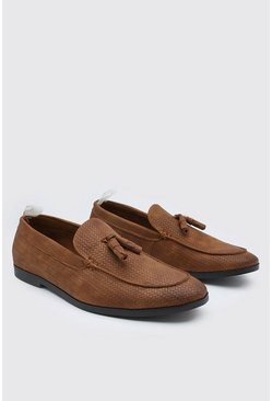 Brown Embossed Tassel Loafer