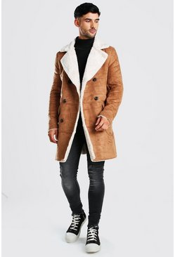 Longline Faux Fur Double Breasted Overcoat, Brown