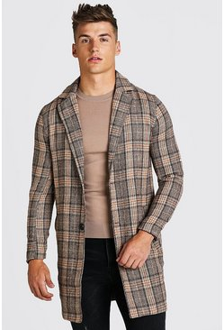Brown Check Wool Look Overcoat
