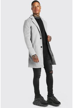Grey Summer Wool Look Overcoat