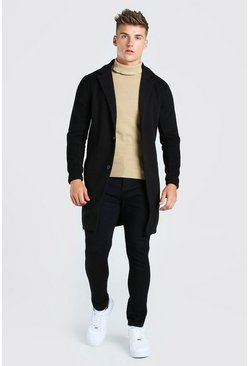 Black Summer Wool Look Overcoat