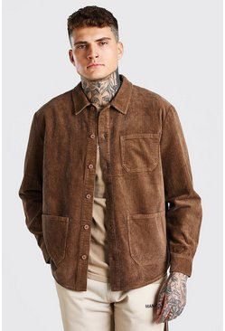 Cord Button Through Over Shirt, Brown