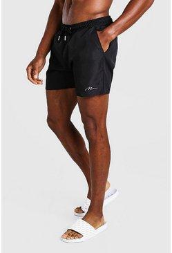 Black MAN Signature Mid Length Swim Short