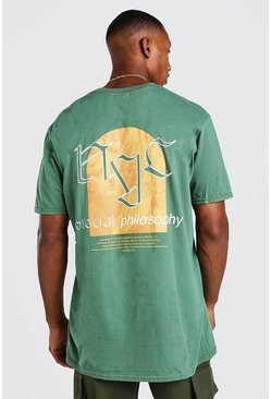 Green Oversized NYC Philosophy Print T-Shirt