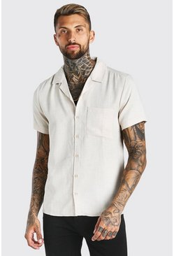 Stone Short Sleeve Revere Collar Linen Look Shirt