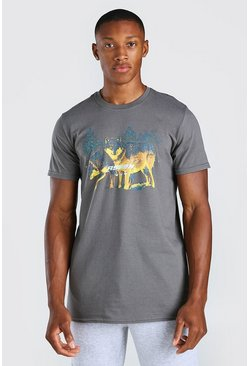 Grey Wolf Print T-Shirt
