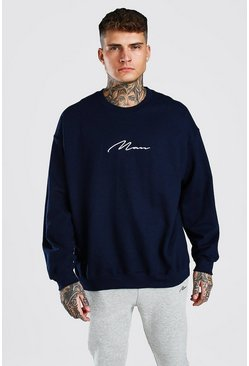 MAN Signature Oversized Sweat, Blue