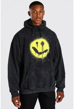 Charcoal Oversized Spray Graphic Print Acid Wash Hoodie
