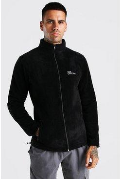 Black MAN Official Polar Fleece Zip Through Funnel Top