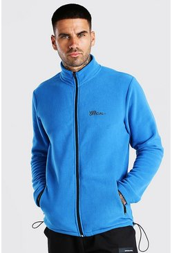 MAN Official Polar Fleece Zip Through Funnel Top, Blue