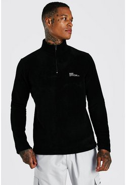 Black MAN Official Polar Fleece Half Zip Funnel Top