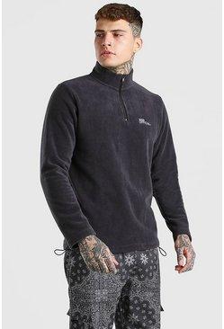 Charcoal MAN Official Polar Fleece Half Zip Funnel Top