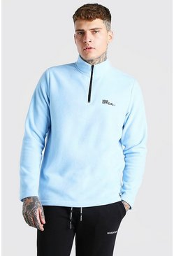 MAN Official Polar Fleece Half Zip Funnel Top, Pale blue