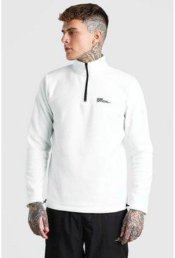 Ecru MAN Official Polar Fleece Half Zip Funnel Top