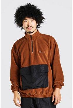 Brown Oversized Man Signature Polar Fleece 1/2 Zip Hoodie