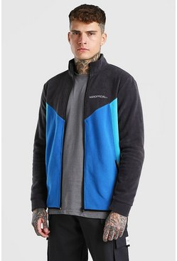 MAN Official Colour Block Polar Fleece Top, Charcoal