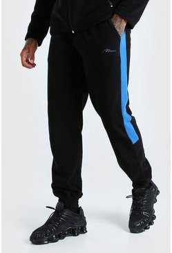 MAN Signature Polar Fleece Side Panel Jogger, Black