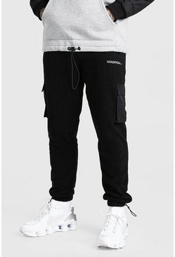 Black Official MAN Cargo Jogger In Polar Fleece