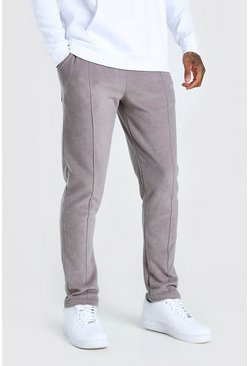 Grey Slim Fit MAN Signature Polar Fleece Pintuck Jogger