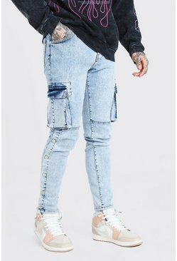 Ice blue Skinny Stretch Cargo Jean With Side Poppers