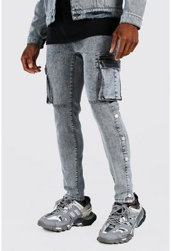 Light grey Skinny Stretch Cargo Jean With Side Poppers