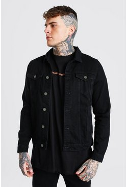 Regular  Official Back Print Denim Jacket, Black