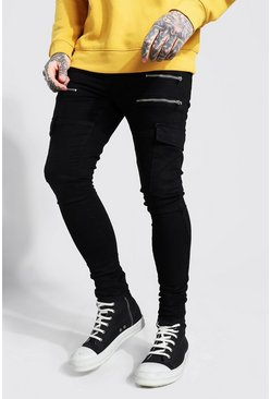 Black Super Skinny Stretch Cargo Jean With Zips