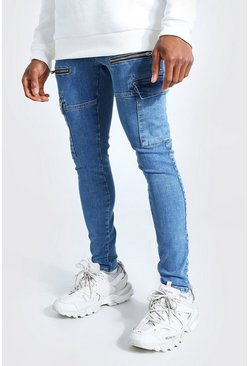 Mid blue Super Skinny Stretch Cargo Jean With Zips