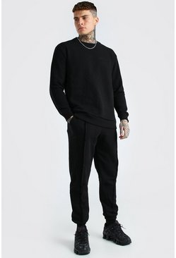Black MAN Official Raw Seam Sweater Tracksuit